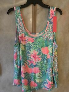 Lilly Pulitzer NWT Ruffle PJ Tank Multi Swizzle In Reduced XL Free Shipping