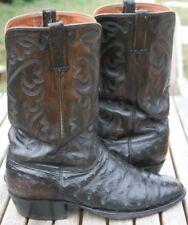 Lucchese Black Ostrich 12D Vintage San Antonio Tough Work Boots Exotic Handmade