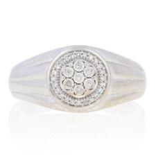 White Gold Diamond Ring - 10k Single Cut Accents Men's