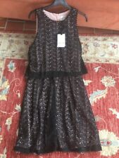 """REISS Black """"remi Layered"""" Lace Overlay Dress Black/nude  Size 14 BNWT"""