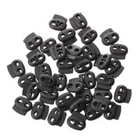 Double Hole SpRing Loed DrawstRing Rope Cord Locks Black 40 pcs TS