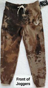 TRUE RELIGION MEDIUM Athletic Tie Dye BROWN WASH. FLEECE Jogger Sweatpant RARE😍
