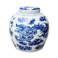 "Beautiful Blue and White Porcelain Ginger Jar Dragon Motif 9"" with Lid"