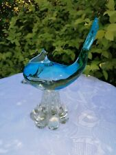 TURQUOISE GLASS DOLPHIN ON CLEAR BASE - GIFT IDEA.ORNAMENT.FIGURINE.DECORATION