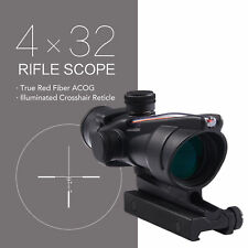 4x32 Optical ACOG Rifle Scope with True Fiber Optics Red Illuminated Reticle