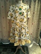 "Panto Dame Yellow Floral dress yellow ribbon Mop cap 50""chest Green buttons"