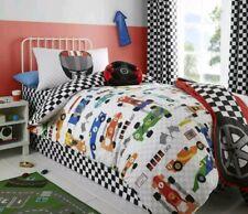 Boys Car Grand Prix SINGLE Duvet Cover CHECK REVERSE🚘🚘Racing cars New