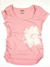 Old Navy Maternity M Pink Floral Burnout Lightweight Ruched Cotton T Shirt Top