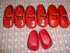 vintage Red Shirley Temple Doll Shoes Ideal vinyl slip on