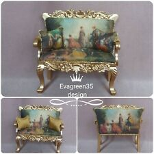 Doll house furniture french style ornate Sofa Couch   1:12 scale