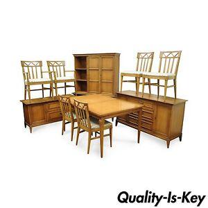 Vtg Mid Century Modern Broyhill Premier 10 Pc Walnut Invitation Dining Room Set