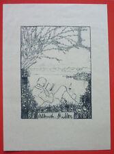 """Exlibris, Bookplate """"A. Miller"""" Landschaft"""