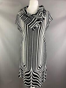 Quiz Size UK 10 Black Grey Striped Jumper Dress Short Sleeved Shift Style