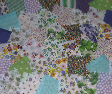 "50 x 4"" Fabric Remnant Bundle patchwork squares~Purple & Green Collection~Craft"
