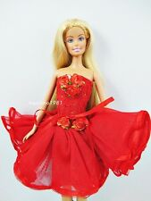 Neck Halter Red Lace Layer Dress For Barbie Royalty Fashion Doll Aspirinno-147