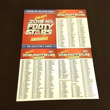 2016 AFL SELECT FOOTY STARS 4 CARD CHECKLIST COMMON TEAM SET