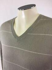 Banana Republic Cashmere Silk Cotton VNeck Sweater M Stripe Gray White Golf Mens