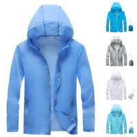 Mens Womens Casual Long Sleeve Hooded Coat Quick Dry Waterproof Outdoor Jacket