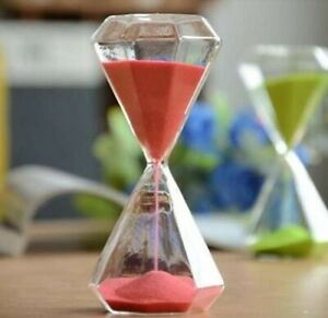 Diamond Shape Sand Timer 5 Minutes Hourglass for Home Desk Office Decoration
