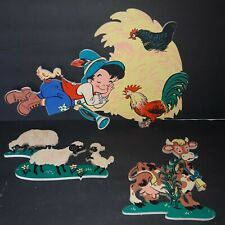 1950's Dolly Toy Co. Mother Goose 3 Piece Farm Wall Plaques