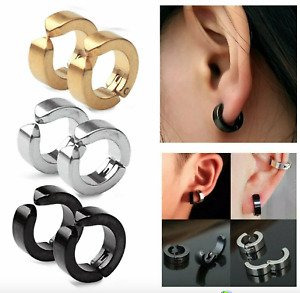 Man Magnetic Titanium plated Fake Earrings clip on no ear piercing hole Hoop