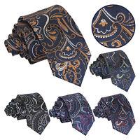 DQT Mens Slim Tie Woven Floral Cypress Paisley Formal Necktie FREE Pocket Square