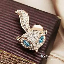 18K Rose Gold Plated Made With Swarovski Element Cute Aquamarine Fox Brooch