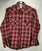 Wrangler Wrancher Mens XL Flannel Shirt Red Long Sleeves Button Front Cotton