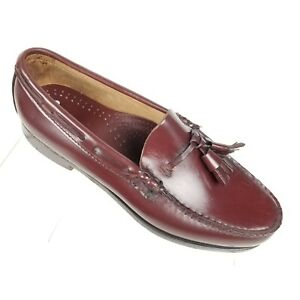 New Bass Weejuns Mens Tassel Loafers Burgundy Leather  Moc Toe Size 7 D