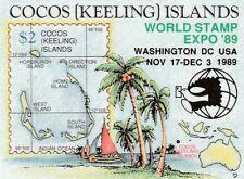 1989 Cocos Keeling Islands, World Stamp Expo Washington Overprinted Mini Sheet