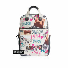 Bag Envy Ladies Girls White Backpack Multi Coloured London Print And Black Trims