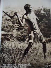 ANTIQUE VINTAGE OLD PHOTO POSTCARD ABORIGINAL MAN IN FULL WAR PAINT BOOMERANG