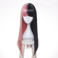 Melanie Martinez Wig Long Straight Pink Black Braids Synthetic Hair Cosplay Wig