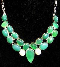 "Silver Plate Natural Green Onyx & Pearl Necklace 21 gems 20"" Adjustable Gift USA"