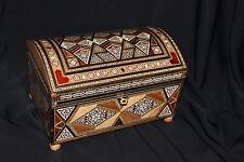 Handmade Marquetry Inlaid Mosaic Wooden Treasure Jewelry Box with Key