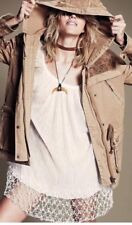 Free People Craft Cloth Tapestry Jacket Parka Hood Military Golden Coat Sz XS