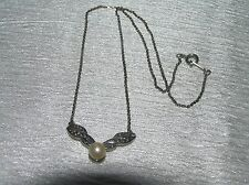 Vintage Avon Signed Dainty Silvertone Chain with Faux Marcasite & Pearl Pendant