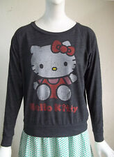 HELLO KITTY Long Sleeve Soft Gray Knit Tee T Shirt Sanrio Sz S