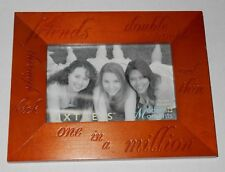 """SIXTREES PICTURE FRAME Wooden Engraved Writing Friends One In A Million 4""""x6"""""""