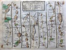 ROAD MAP BY JOHN SENEX c1757   HERTFORDSHIRE BEDFORD NORTHAMPTON WORCESTER