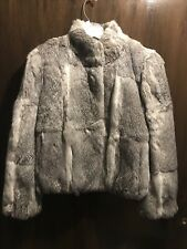 Womens Rabbit Fur Coat Gray Size Medium