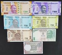 INDIA 7 PCS BANKNOTES SET (1+5+10+20+50+100+200 RUPEES), RANDOM YEAR, UNC