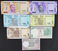 INDIA 7 PCS BANKNOTES SET (1+5+10+20+50+100+200 RUPEES), RANDOM YEAR, UNC