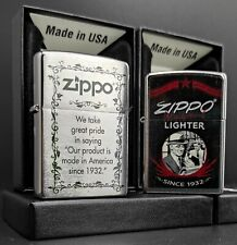 Zippo 2er Set: SINCE 1932 (Written Motto + Vintage Motif Design)