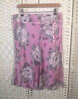 Next 100% Silk Pink Floral Lined Flare Summer Knee Length Skirt 12/14 Ribbon Zip