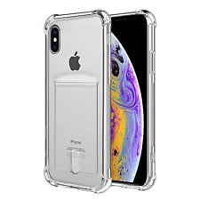 ANHONG iPhone Xs Max Clear Case Card Holder, [Slim Fit][Wireless Charger Compati