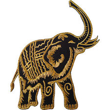 Iron On Embroidered Black Gold Thailand Elephant Patch / Sew On Jacket Bag Badge