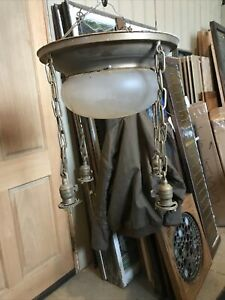 LLT Antique stamped steel 4 drop chandelier As Found 16 X 16