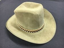 90395c3a275 Genuine Suede Leather Cowboy Hat w  Saddle Pin 7 1 2 Off White Beige