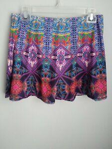 Lucky in Love Multicolor Boho Active Golf Tennis Skort Short Skirt Size 8-10